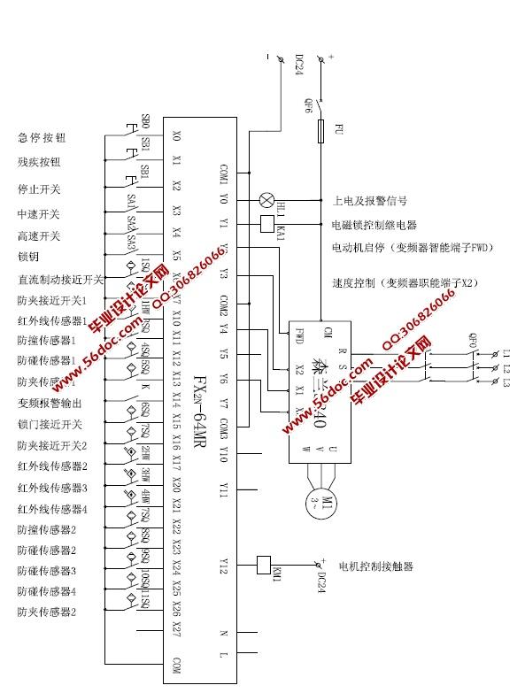 plc自动门控制系统设计画图 1.